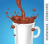 cup with hot chocolate ... | Shutterstock .eps vector #1236811402