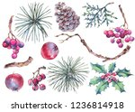 winter set of vintage floral... | Shutterstock . vector #1236814918