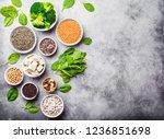 top view of different vegan... | Shutterstock . vector #1236851698