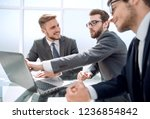 employees discussing new... | Shutterstock . vector #1236854842