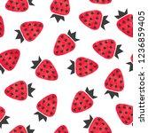 seamless strawberry pattern.... | Shutterstock .eps vector #1236859405