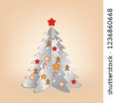 christmas beige greeting with... | Shutterstock .eps vector #1236860668