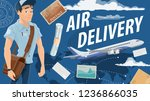 air mail delivery and mailman ... | Shutterstock .eps vector #1236866035