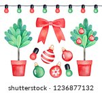 christmas tree set with... | Shutterstock . vector #1236877132