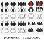 people crowd silhouette icons ... | Shutterstock .eps vector #1236900292