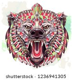 patterned head of roaring bear... | Shutterstock .eps vector #1236941305