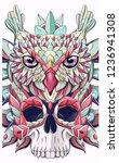 patterned owl and skull. bird.... | Shutterstock .eps vector #1236941308
