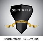 black shield with golden ribbon....   Shutterstock .eps vector #123695605