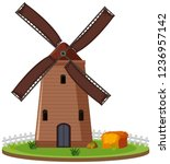 isolated windmill farmland on... | Shutterstock .eps vector #1236957142