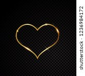 valentine heart sparkle golden... | Shutterstock .eps vector #1236984172