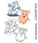 vector illustration of a cute... | Shutterstock .eps vector #1236987325
