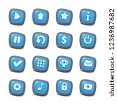 set of 16 blue jelly icons in...