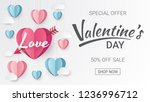 valentines day sale background... | Shutterstock .eps vector #1236996712