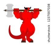 devil with ax. strong angry... | Shutterstock .eps vector #1237007038