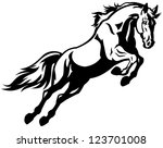jumping horse black white... | Shutterstock .eps vector #123701008