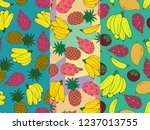 set of three seamless abstract... | Shutterstock .eps vector #1237013755