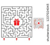 abstract square maze. find the... | Shutterstock .eps vector #1237024045