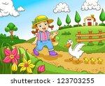 cute little farmers girl at a... | Shutterstock .eps vector #123703255