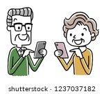 senior woman and senior male ... | Shutterstock .eps vector #1237037182
