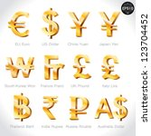 Stock vector currency signs dollar euro yen yuan won franc pound lira baht rupee rouble pound vector 123704452