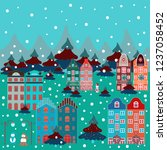 pattern with houses. picture on ... | Shutterstock . vector #1237058452