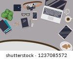 messy cluttered office desk | Shutterstock .eps vector #1237085572