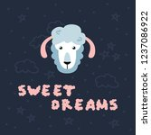 cute vector sheep with sweet... | Shutterstock .eps vector #1237086922