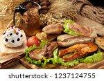 closeup still life with steaks  ... | Shutterstock . vector #1237124755