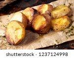 a closeup of a serving of baked ... | Shutterstock . vector #1237124998