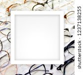 white frame on fashion glasses... | Shutterstock . vector #1237138255
