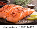 fresh salmon fish fillet on... | Shutterstock . vector #1237146472