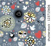 floral texture with birds in...   Shutterstock .eps vector #123715606