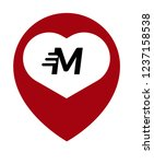 letter m and map pin. logo...