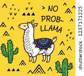 no prob llama motivational... | Shutterstock .eps vector #1237171225