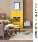 brown living room and yellow... | Shutterstock . vector #1237174672