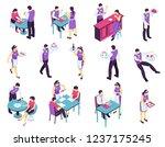 isometric restaurant waiter set ... | Shutterstock .eps vector #1237175245