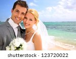 portrait of beautiful bride and ... | Shutterstock . vector #123720022