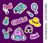 fashion patch badges with book  ... | Shutterstock .eps vector #1237205482