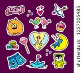 fashion patch badges with birds ... | Shutterstock .eps vector #1237205485