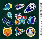 fashion patch badges with... | Shutterstock .eps vector #1237205488