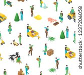 farmers at work 3d seamless... | Shutterstock .eps vector #1237206058