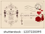 retro postcard with words i... | Shutterstock .eps vector #1237220395