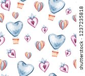 seamless pattern with hearts ... | Shutterstock . vector #1237235818