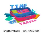 an open suitcase packed with... | Shutterstock .eps vector #1237239235