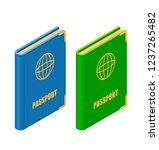 two passports in isometric...   Shutterstock .eps vector #1237265482