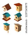 set of volumetric birdhouses in ... | Shutterstock .eps vector #1237265875