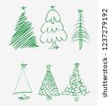 hand drawn christmas tree. set... | Shutterstock .eps vector #1237279192