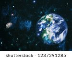 earth and moon view from space .... | Shutterstock . vector #1237291285