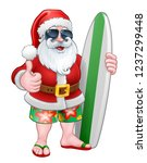cool santa claus in shorts and... | Shutterstock .eps vector #1237299448