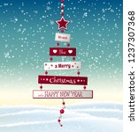 christmas greeting card with... | Shutterstock .eps vector #1237307368